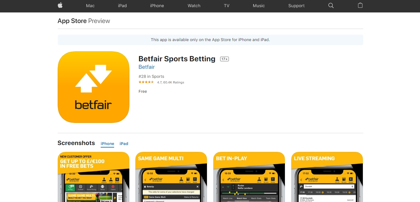 Betfair for iOS