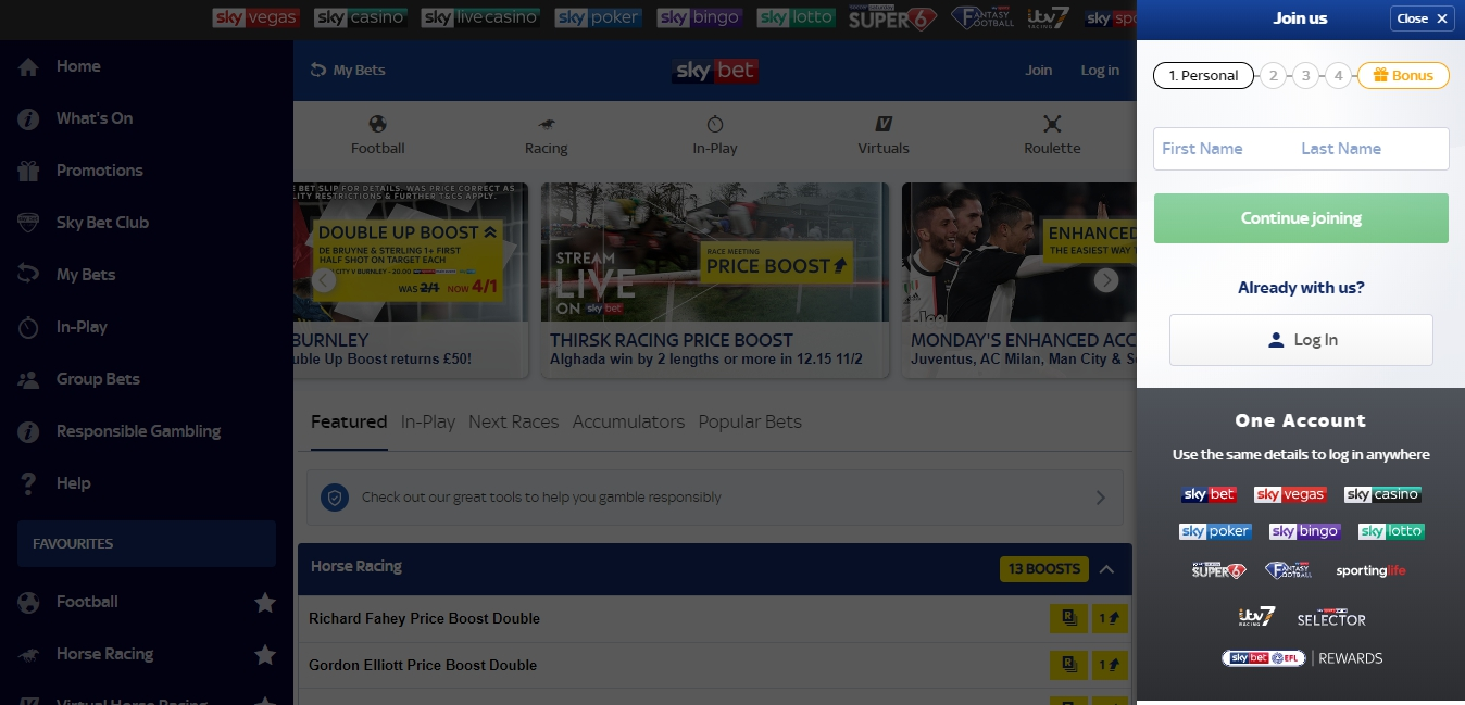 open an account Sky Bet