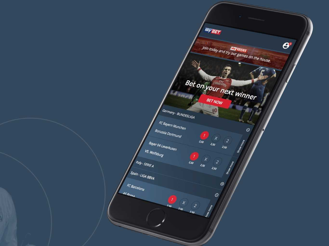 mobile version of Sky Bet